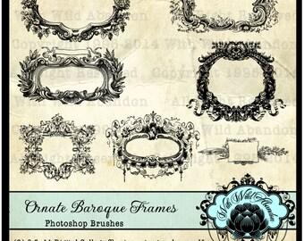 Digital Frame Photoshop Brushes, Vintage Ornate Baroque Frame Clipart, transparent pngs,