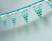 Pennant Banner Flag Garland Bunting Wall Decor made from Vintage Floral Fabric in Teal, Cream, Green and Aqua
