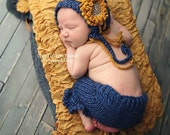 The Gretchen newborn knit bonnet and ruffled capri set in blue heather with your choice of tie-back