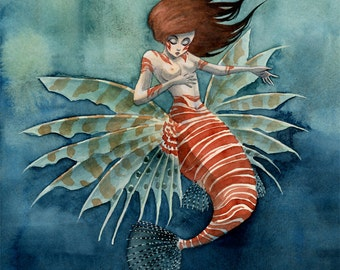 Lionfish Mermaid - 11x14 print
