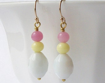 Pink Yellow White Dangle Earrings Eco-Friendly Recycled Earrings by Perini
