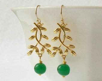 LAST ONE Emerald Green Drop Earrings Eco-Friendly