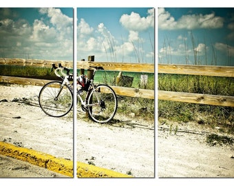 Beach Summer Bicycle Canvas Triptych, 3 Panel Fine Art, LARGE, Ready to Hang