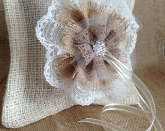 Rustic Chic Ring Bearer Pillow/ Burlap and Lace Wedding Decor/ Country Ringbearer Pillow