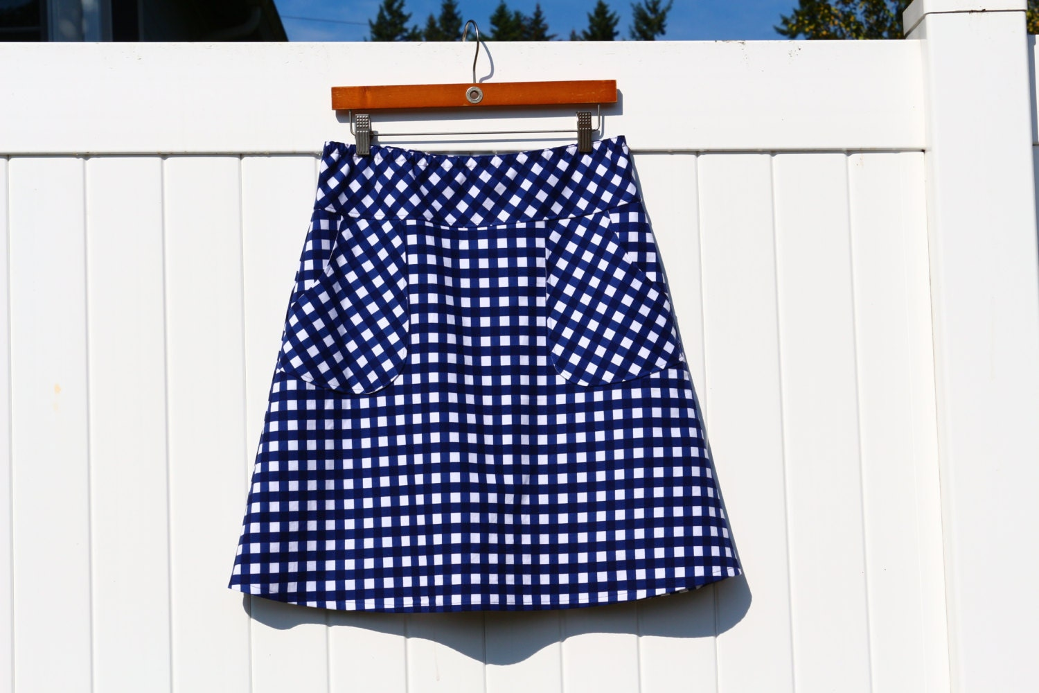 navy blue and white gingham a line skirt gingham skirt skirt