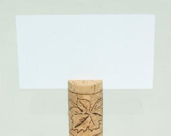 Top Slit, Vertical Wine Cork Place Card Holders - Grapes/Leaf design