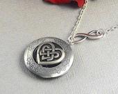 Silver Heart Celtic Knot Locket, Antique Silver, Infinitely Triquetra, Trinity, Locket Necklace