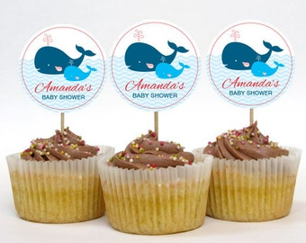 Personalized Whale Baby Shower Cupcake Toppers - 2 Inch Circles - DIY Printable - Baby Boy (Digital File)