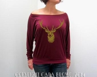 Stag T Shirt Women's Slouchy wiccan Deer Maroon Long Sleeve buck antlers