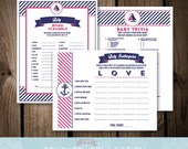 Baby Shower GAME PACKAGE of 3 games - Set 2 - Baby on Board Nautical Preppy Girl Baby Shower Navy and Pink Printable DIY Instant Download