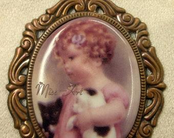 Bessie Gutmann Little Victorian Girl Child Holding Puppy & Kitten Porcelain Cameo Fancy Solid Brass Pendant Frame Red-Bronze Patina Miss-art