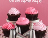 The Best Ever Cupcake Icing Kit - Five Jumbo Decorating Tips with Pastry Bag