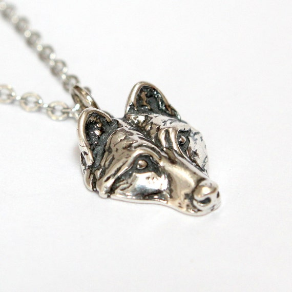 Wolf  Necklace Silver Wolf Pup Necklace 017