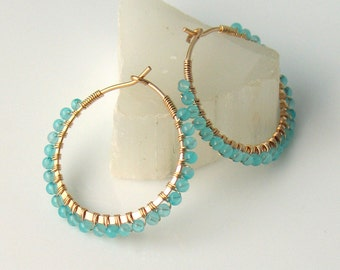 Blue Stone Gold Earrings, Tiny Teal Quartz Beaded Gold-filled Hoops, Petite Wire Wrapped Bead Hoops in Teal Blue and Gold