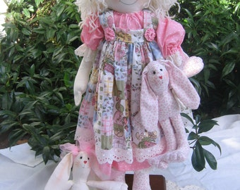 Print Pattern  - Cloth doll Pattern - Bella and her Bunny -a  classic rag doll and little bunny