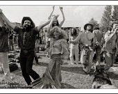 HIPPIES DANCING, Vintage Clyde Keller Photo, large 20x30 inch Fine Art Print, Black and White, Signed, Treasury
