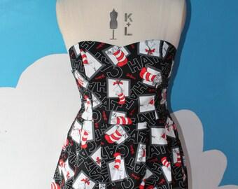 SALE - black doctor seuss cat in the hat sweet heart dress - 8-12