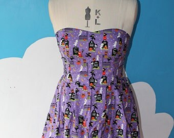 SALE - purple cute halloween sweet heart dress - 8-12