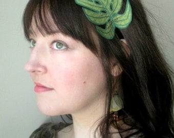 Philodendron Leaf Headband- Shimmery Dragonfly Green with Emerald Green Embroidery