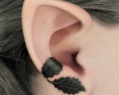 Dark Forest Right Ear Cuff - Black Leaves Filigree