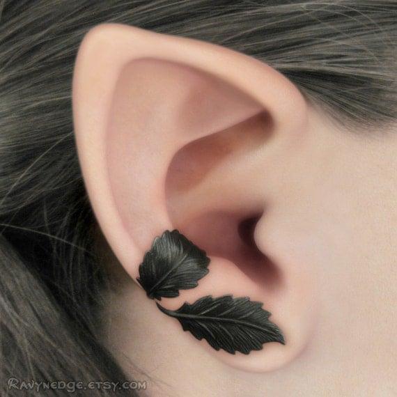 Dark Forest Right Ear Cuff - Black Leaves Filigree