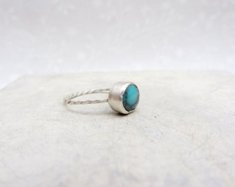 Turquoise Sterling Silver Stacking Ring, handmade sterling bezel ring