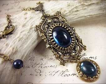 Medieval Necklace,  Renaissance Bridal Jewelry, Navy, Dark Blue, Medieval Pendant, Bridesmaid, Tudor Costume, Garb, Anne Boleyn, GothCath