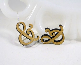 Mini Harrington Ampersand Earrings in bamboo