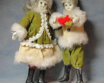 Beautiful Ice Skating Pair Ornaments in Soft Velvet