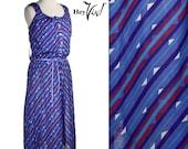 1980s Striped Sundress - Vintage Geometric Diagonal Print in Bold Fuschia, Green, and Purple - size Medium Large
