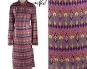 1970s Psychedelic Print Dress - Vintage Day Dress w/ Purple Diamond & Flower Pattern - Size Large