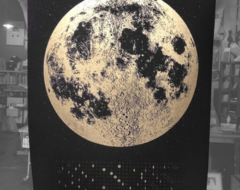 2017 Moon Calendar, Moon Phase Calendars, Gold Wall Calendar lunar phases art print, silver gold copper large print, wall art space stars
