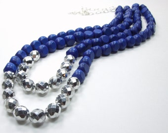 Memphis Blues Collection-Blue Sapphire Wood Beaded Czech Glass Mirror Nugget Statement Silver Accent Double Row Strand Chunky Necklace