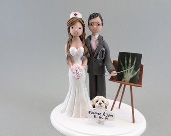 Doctor And Nurse with a Dog Customized Wedding Cake Topper