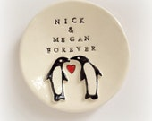 Personalized penquin ring holder engagement gift for couple ring dish handmade by Cathie Carlson