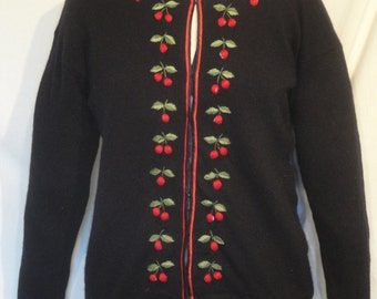 Vintage Black Sweater Orlon with Embroidered Cherries Red Satin Trim 40