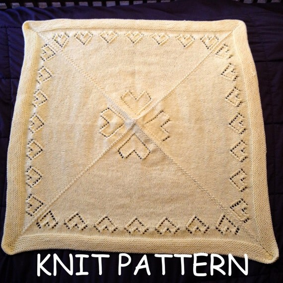 Knitted Triangle Pattern Baby Blanket : Knit heart baby blanket pattern heart baby afghan pattern