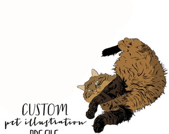 custom pet drawing, printable PDF personalized pet illustration, valentines day gift, dog art cat art, letterhappy