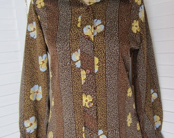 Blouse, Shirt Brown, Yellow Flowered Polyester with Long Sleeves - Size M