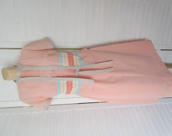 Dress with Jacket, Knit, Peach and Turquoise - Size S-M