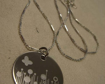 Serenity Field of flowers necklace Engraved stainless steel