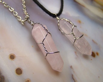 Rose Quartz crystal necklace pendant - Double Terminated stone point - wrap - light pink Quartz stone - silver wire wrapped made to order