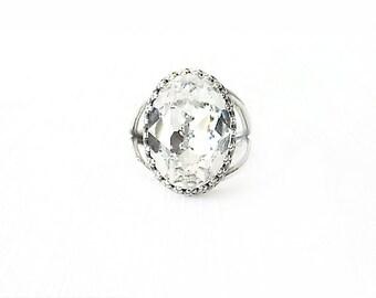 Silver Cocktail Ring - Swarovski Crystal, Brass - Crystal Clear - The Cocktail: Large Oval Bezel Set