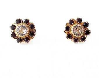 Gold Stud Earrings - Swarovski Crystal - Black, Clear - The Cocktail: 12mm Flower