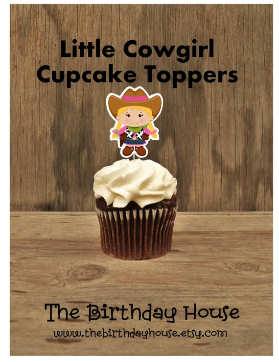 Cowgirl Birthday Party - Set of 12 Little Cowgirl Cupcake Toppers by The Birthday House