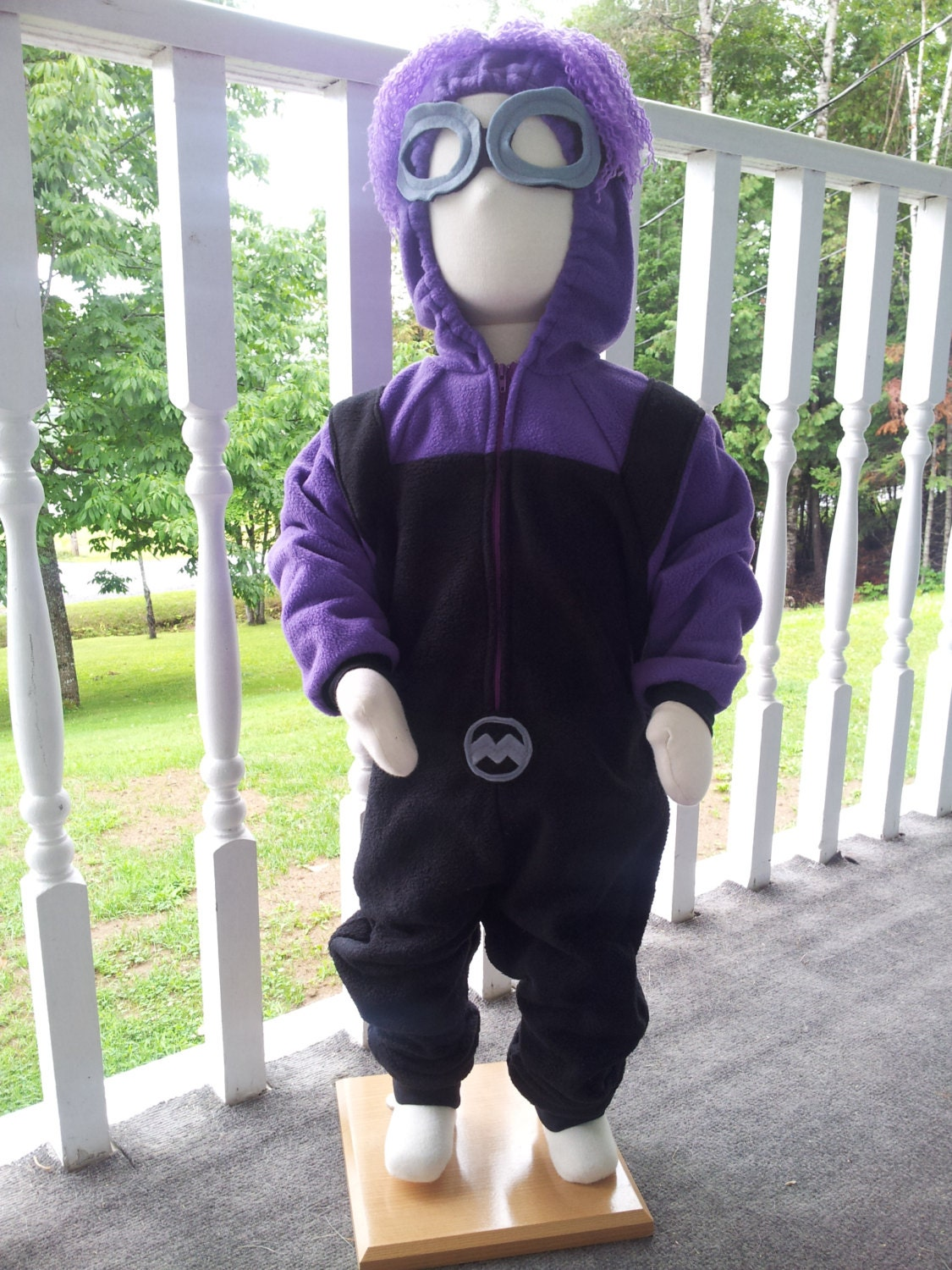 Custom Crazy Evil Purple Minion Costume With Goggles