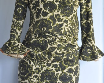 Vintage 1950's Classical style Tapestry Skirt & Top Set bell sleeves