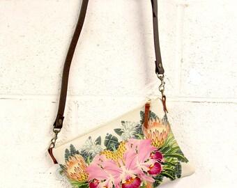 Leather bag / Shoulder Bag / Evening Bag / Ladies Handbag / Leather clutch bag- Tropical Bloom