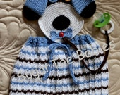 Puppy Overalls Baby Boy Crochet Pattern PDF 12mo Detachable Binky Holder (Change Colors for a Girl)