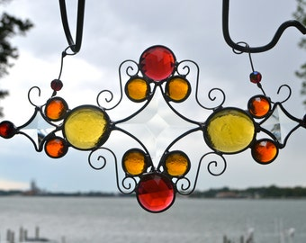 Warm Tone Jewels Stained Glass Suncatcher